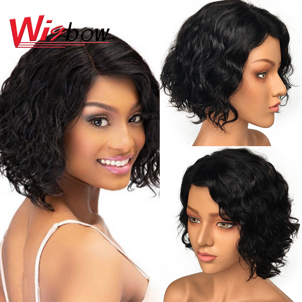 Lace Wig Human Hair For Women Short Ombre Water Wave Wig Human Hair Blonde Wigs With Brazilian 150 Density Machine Made Lace Wig