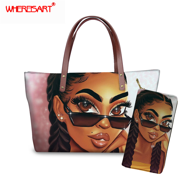 WHEREISART Women Bags Handbags 2019 Famous Brands African Beach Bag Bolsa Feminina Afro Black Girls Tote Bags PU leather Purse 1