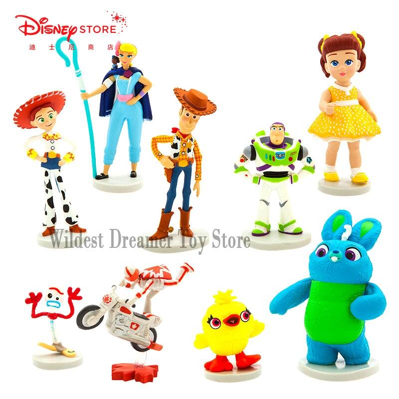 9 pçs/set filme brinquedo história 4 dos desenhos animados brinquedo woody buzz lightyear jessie forky figura de ação collectible disney figura crianças boneca 5-8 cm