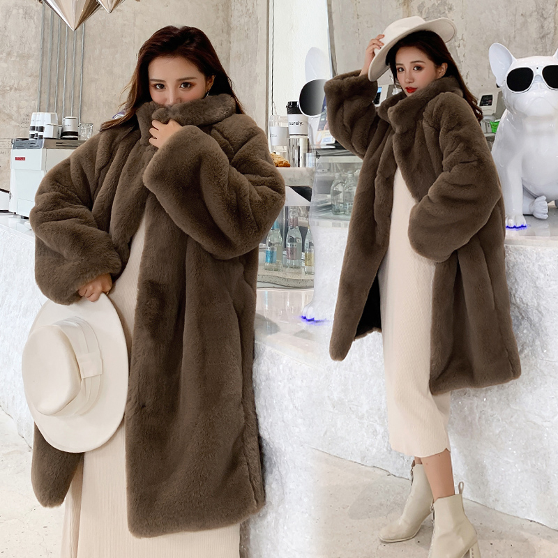 Winter Faux Mink Fur Coat Women Winter Long Coat  Female Thick Warm Faux Fur Jacket Ladies Loose Plush Coat Oversized