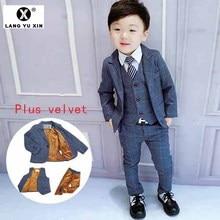 Children Plus Velvet Warm Suit Children's Wedding Banquet Dress Birthday Party T
