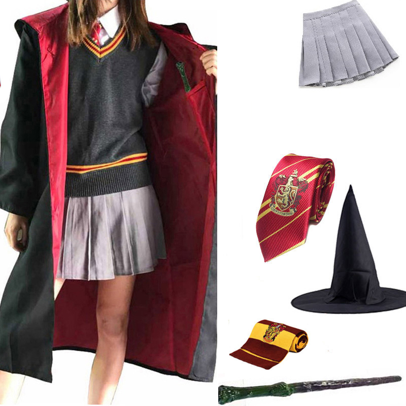 Potter magia roupas cosplay traje manto robe potter cosplay roupas cabo hermione cosplay adereços camisa ropa transporte da gota