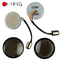 2pcs Motorcycle Bullet Smoke Lens Turn Signal LED Bullet Blinker Indicator Light 1157 Panel For Harley Sportster 2014 2017