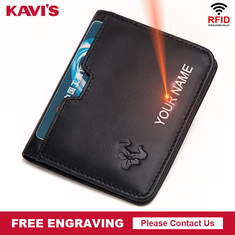 KAVIS Rfid Free Engraving 100% Cow Genuine Leather Men Wallets With Coin Pocket Small Male Purse Mini Black With Card Holders