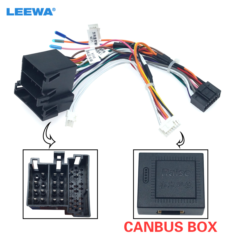 LEEWA Car Radio Stereo Head Unit 16Pin Wire Harness Adapter With Canbus Box For Volkswagen Android Power Cable Connector #CA6383