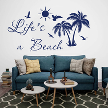 Life Is A Beach Palm Tree Wall Decal Car Laptop Bedroom Summer Surf Nature Sticker Vinyl Kids Room LW283