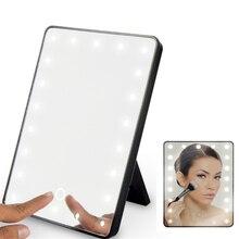 Зеркало для макияжа с 16 светодиодами, косметическое зеркало с сенсорным выключателем, подставка на батарейках для настольной ванной и путешествий