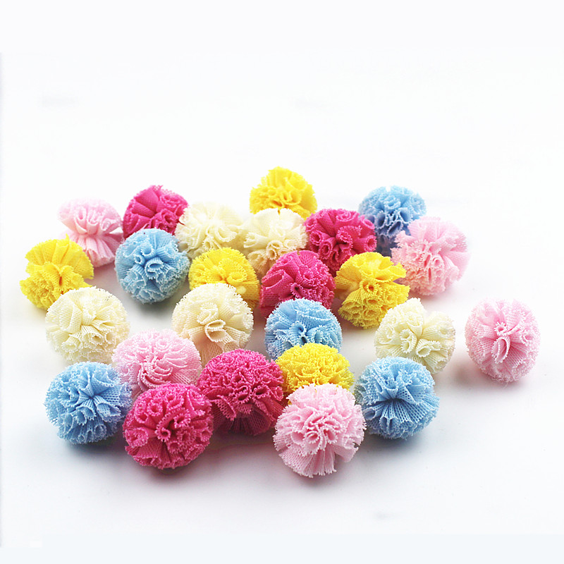 30Pc 25mm Cloth flower ball paste jewelry DIY Craft Supplie Headwear Brooch Crochet Toys Decor Jewelry Accessory Small Caps Gift
