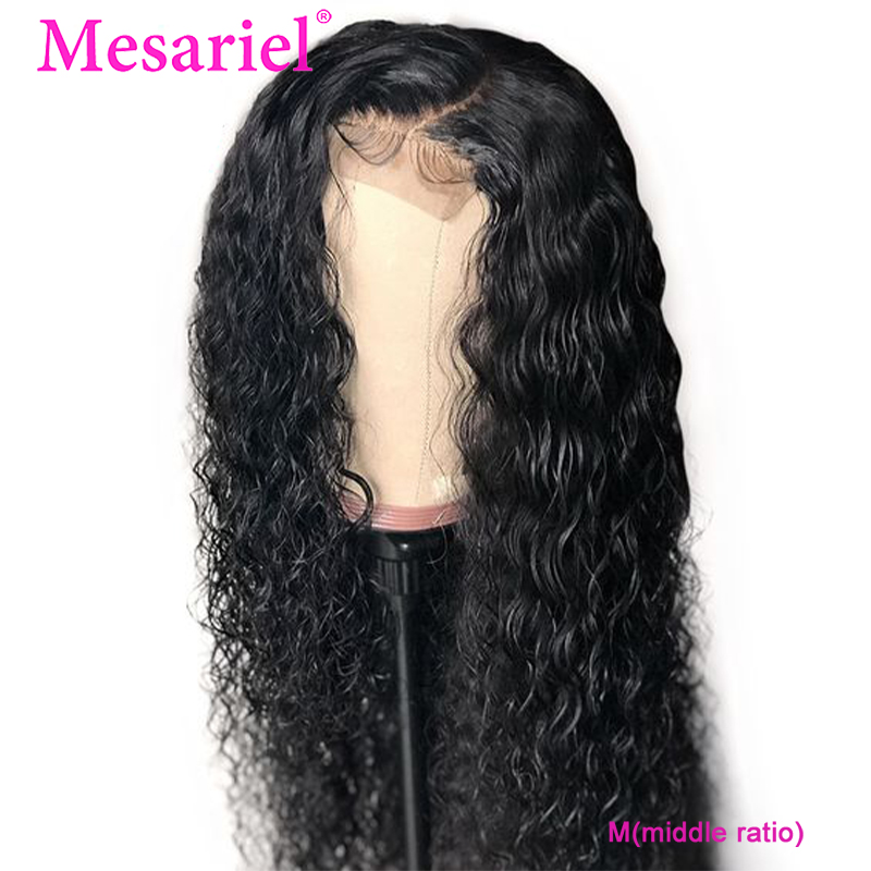Mesariel M Lace Closure Human Hair Wigs 4x4 Brazilian Kinky Curly Closure Hair Wigs Pre Plucked With Baby Hair Remy 150%