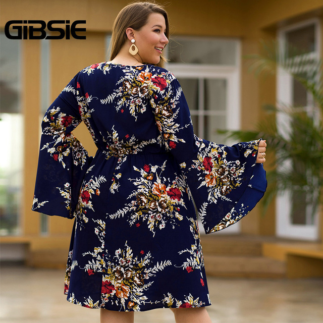 GIBSIE Flare Long Sleeve V-neck Tunic Women Dress Autumn Floral Print High Waist Casual Plus Size Knee Length Mid A-line Dress 2
