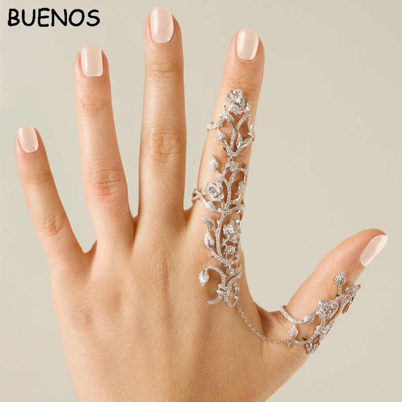 BUENOS New Fashion Personality hollow-out joint rose adjustable finger ring