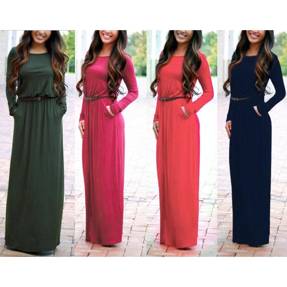 Fashion Pocket Long Sleeve Maxi Summer Dress 2019 Elegant Sashes Casual Black Floor Length Round Neck Women Dress