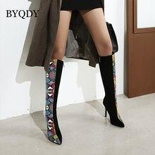 Byqdy на высоком каблуке красочная змея кожи сапоги женская