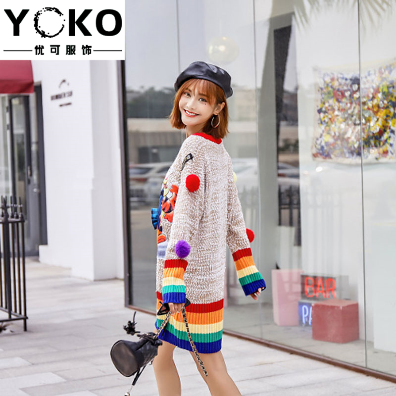 YOKO Pullover Sweater 2019 New Rainbow Stripes Cartoon Pooh Bear Sweater Female Plus Size Loose Long Sweater Outer Wear Dress