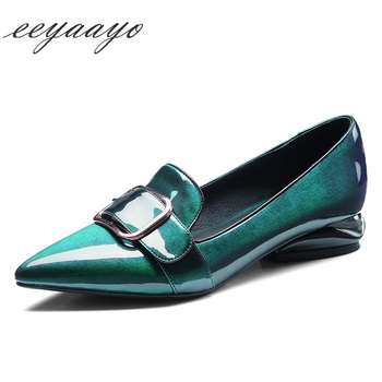 2020 New Genuine Leather Women Pumps Low Heel Pointed Toe Metal Decoration Fashion Women Cow Leather Shoes Green Female Pumps