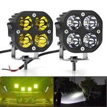 Mini feu de travail led carré de 3 pouces 40W, projecteur blanc jaune 12V 24V, feu antibrouillard tout-terrain pour camion Lada 4x4 4WD, accessoire de voiture
