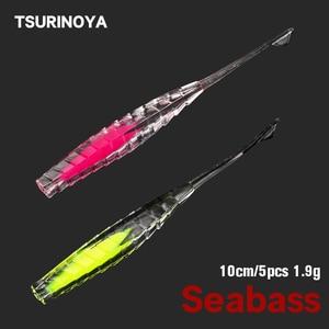 Tsurinoya vara-forma de dois tons cor suave isca de pesca 10cm 2.9g 5 pçs fantasma flutuante worm seabass offshore isca de água salgada