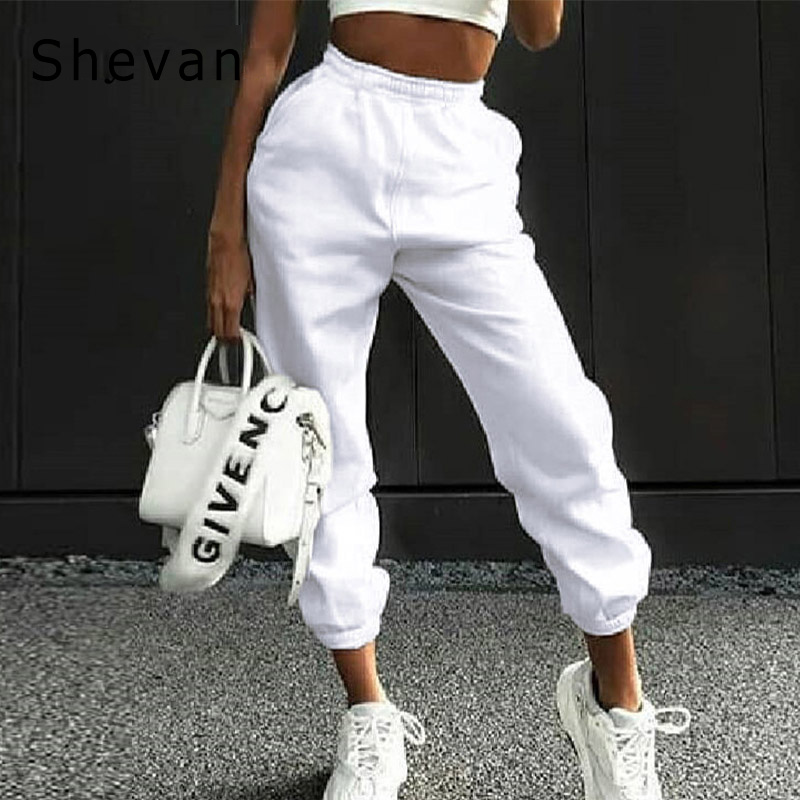 Casual Loose Solid Harem Pants Women Autumn 2019 Winter Streetwear Joggers Cotton Khaki White High Waist Sweatpants