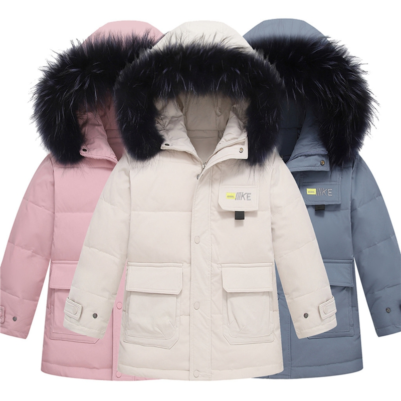 Winter Kids Boys Warm parka Quilted Gift Long Down Coat Padded Fur Hooded Jacket
