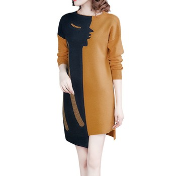 Knited Evening Patchwork Long Sleeve Boho Style Dress6