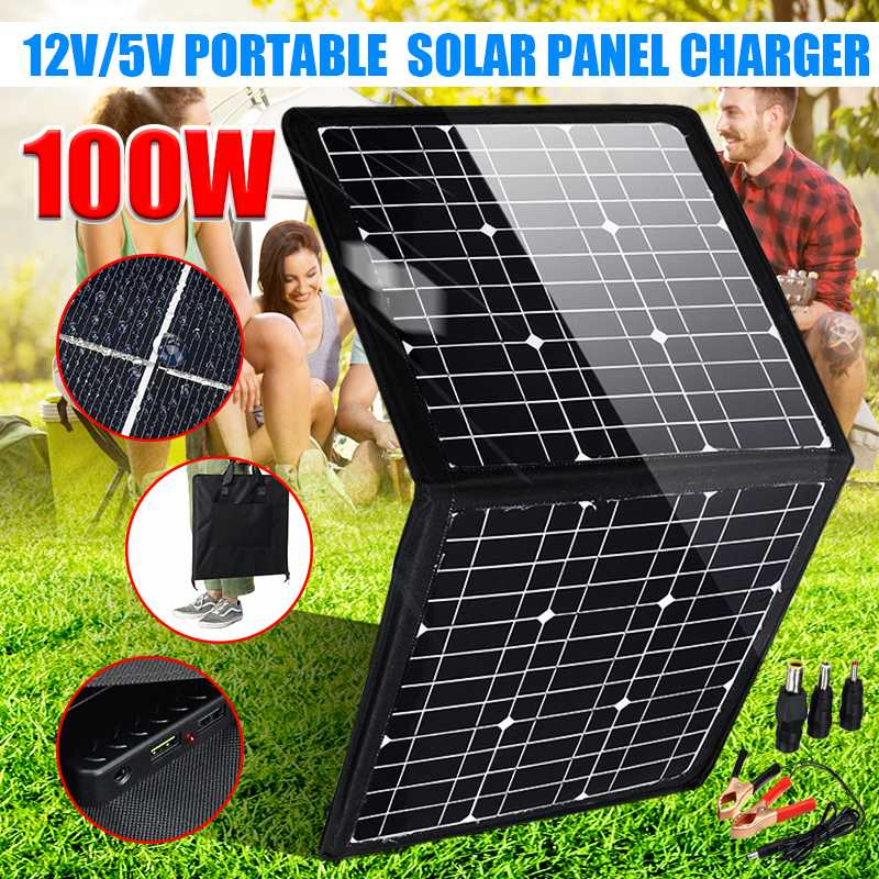 Flexible <font><b>Solar</b></font> <font><b>Panel</b></font> <font><b>100W</b></font> <font><b>12V</b></font>/5V Portable Outdoor Foldable <font><b>Solar</b></font> <font><b>Panel</b></font> For Camping/Boat/RV/Travel/Home Car <font><b>Solar</b></font> <font><b>panel</b></font> kits image