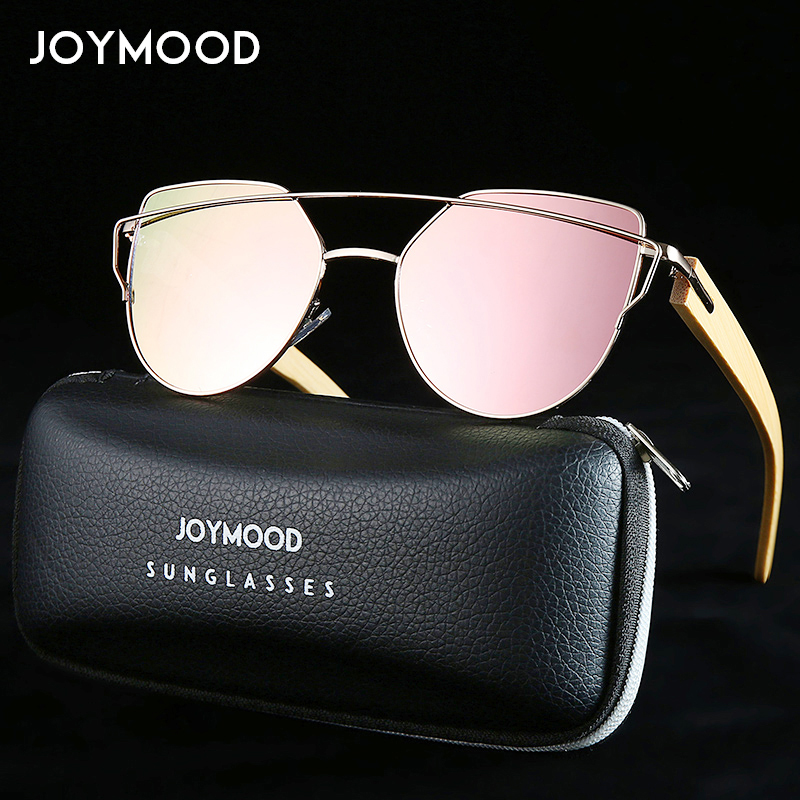 JOYMOOD Brand Bamboo Sunglasses Women Cat Eye Sunglasses Metal Frame Wood Glasses Men Luxury Sun Glasses Ladies