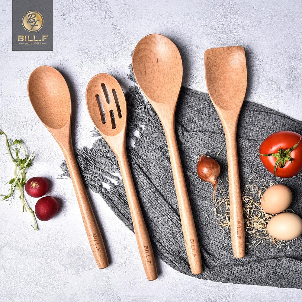 BILL.F beech wood tableware spoon ladle turner long rice colander soup skimmer cooking spoons scoop kitchen tool set