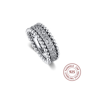 Image 2 - 2020 Valentines Beaded Pave Band Ring femme 925 Sterling Silver Clear CZ Wedding Rings for Women Fashion Jewelry anillos mujer