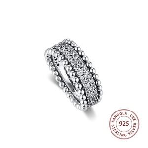 Image 2 - 2020 האהבה חרוזים פייב להקת טבעת femme 925 כסף נקה CZ טבעות נישואים לנשים תכשיטים anillos mujer