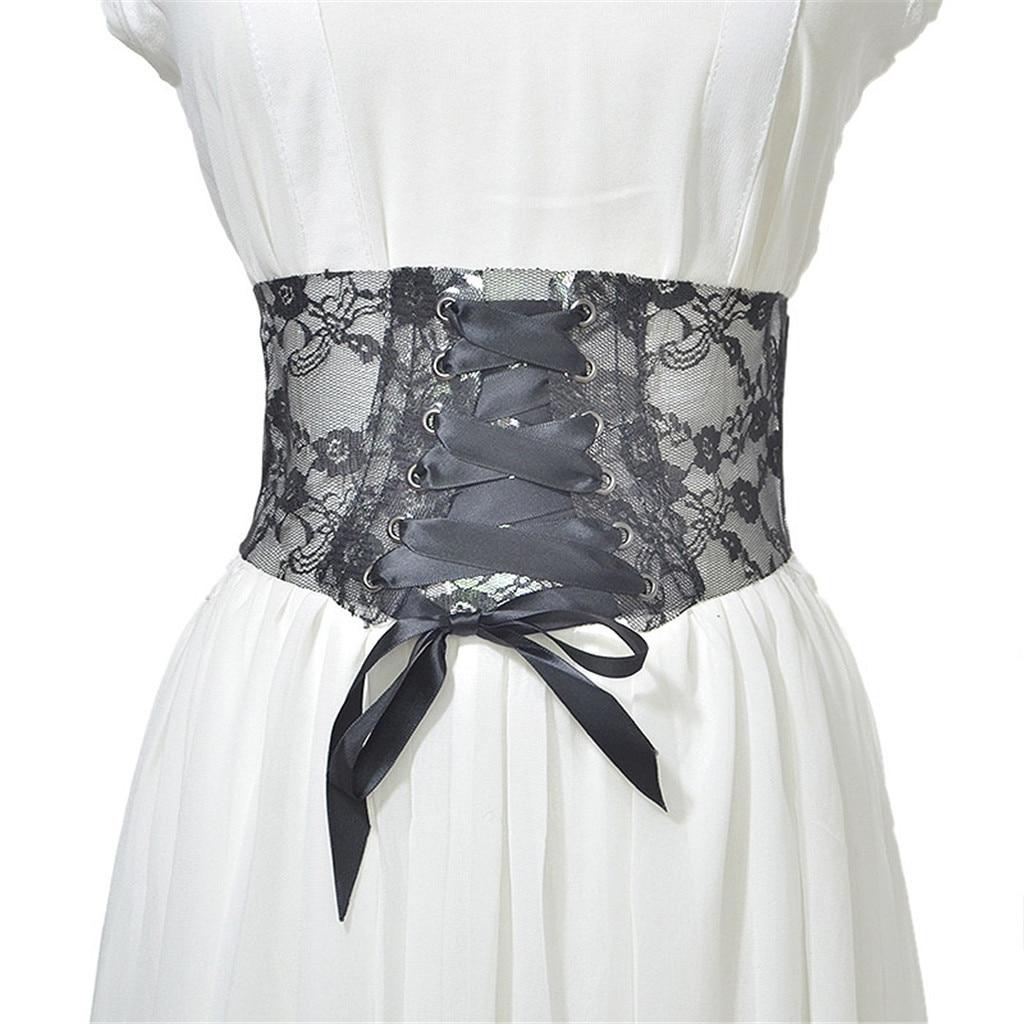 Women's Leather Bag Wide-brimmed Self-binding Belt Straps Belt Elegant Wide Belt With Transparent Lace