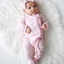 Floral footed macacão de bebê bandana roupas conjunto recém-nascido infantil bebê menina menino o-pescoço macio bonito ropa recebido nacido 0 meses