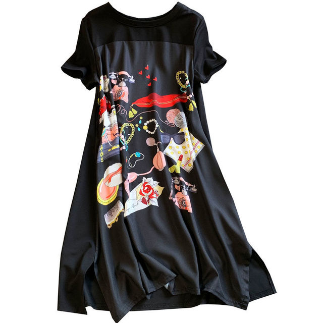 Short Sleeve Dress Women Summer Printed Black Knee Length Chic  4