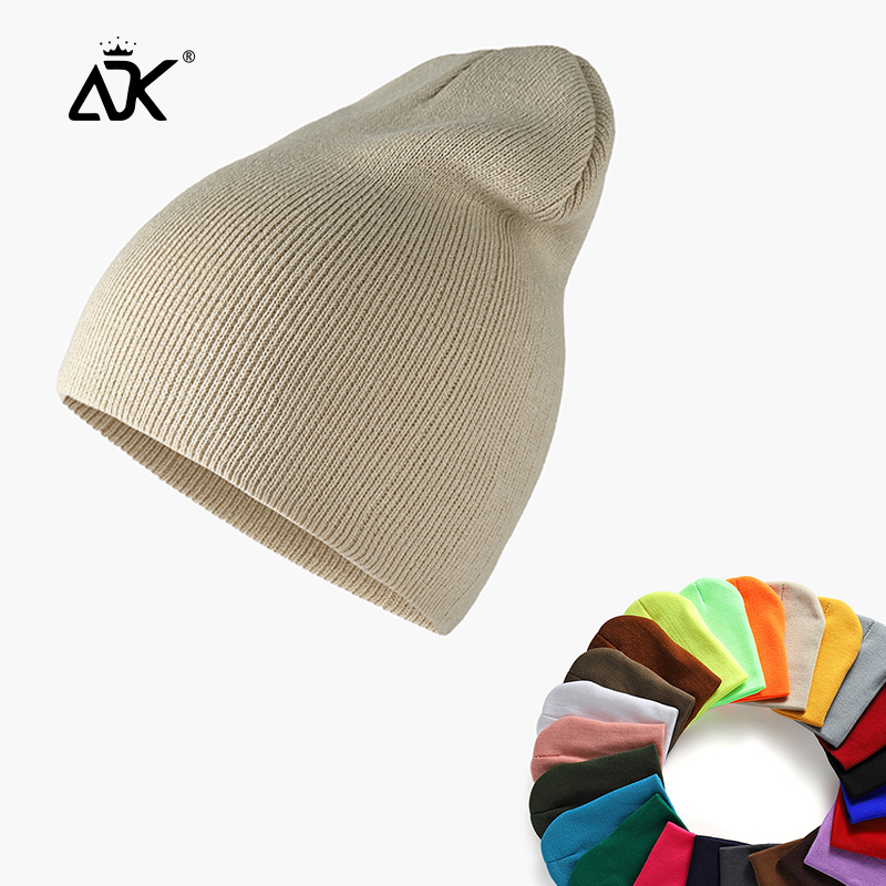 Men's Hats Stretchy Casual Cap Woman Bonnet Pure Color Hats For Girls Baggy Long Hats Ribbed Knitted Birmless Beanie