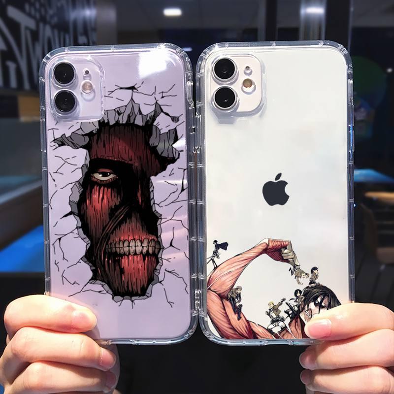 attack on titan Phone Case Transparent soft For iphone 5 5s 5c se 6 6s 7 8 11 12 plus mini x xs xr pro max