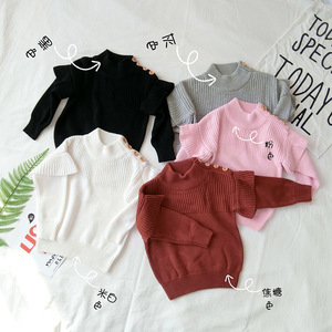 Image 1 - Baby Girl Sweater Ribbed Turtleneck for Girls 2020 Winter Tops Clothes Kids Cardigan Toddler Pullover