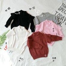 Bebê menina camisola com nervuras gola alta para meninas 2020 inverno topos roupas crianças cardigan criança pulôver