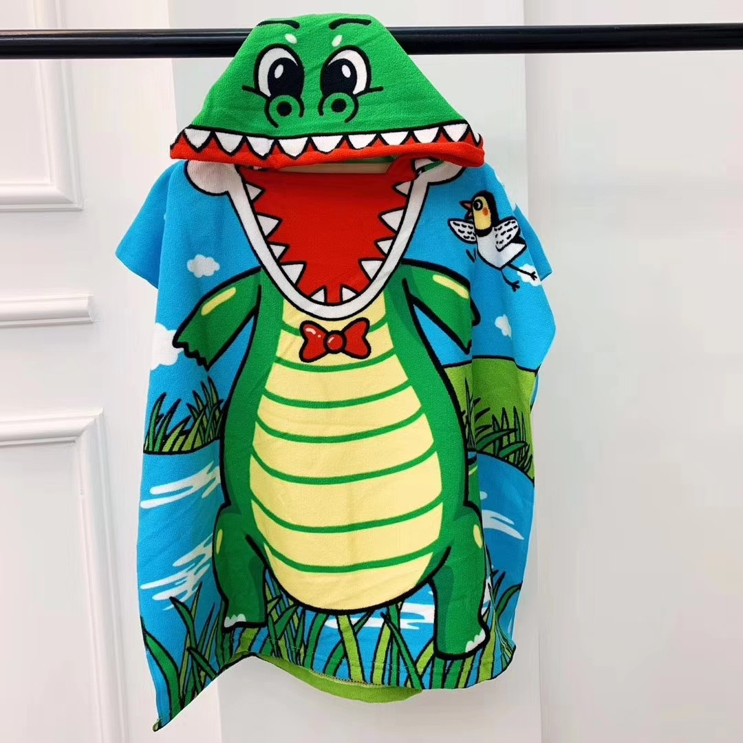 Baby Swimming Beach Towel Children Beach Towels Cartoon Bathroom Towels Baby Cape Printed Superfine Fiber Hooded Towel