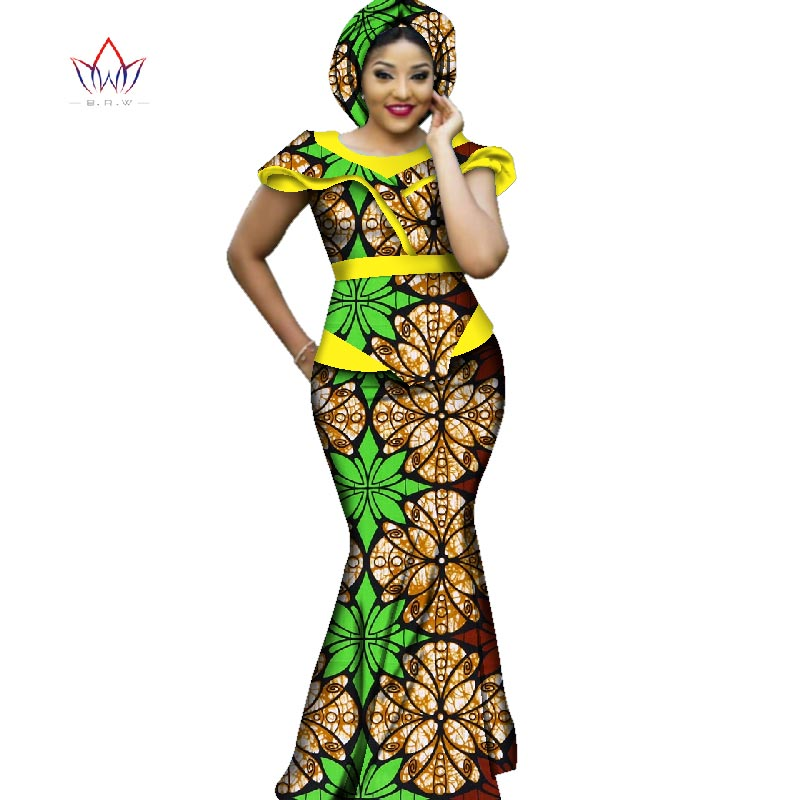 Hot Sale African Bazin Dresses Designs Dashiki Plus Size Women Africa Long Dress Party Dresses Women Set Clothing  WY2711