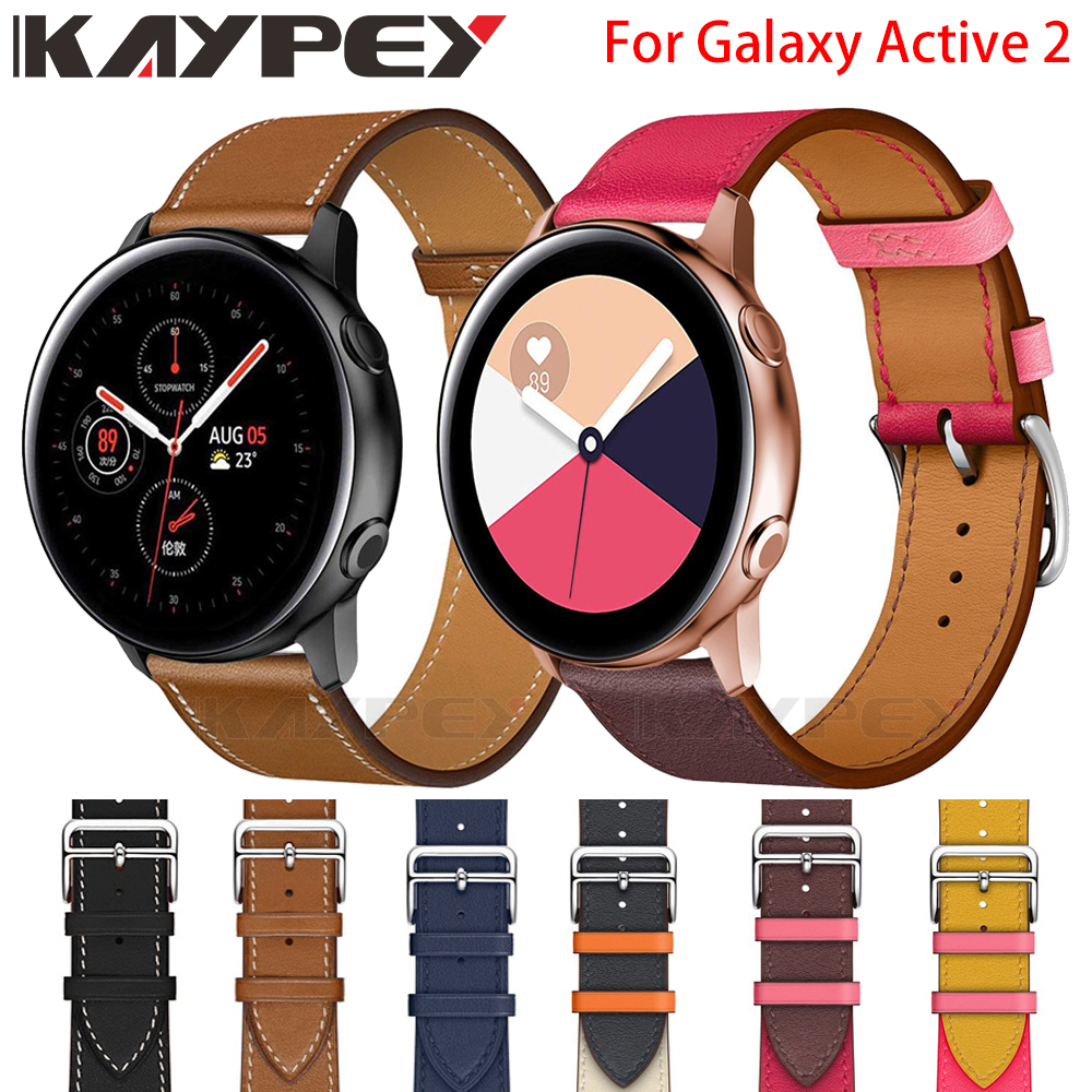 New Fashion Genuine Leather Watch Band Strap For Samsung Galaxy Active2 40mm 44mm Leather Sporty Replacement Wrist Band Strap