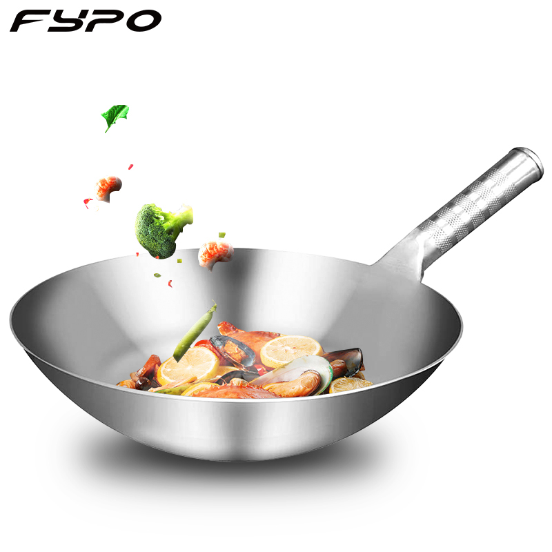 Fypo Stainless Steel Wok 1.8mm Thick High Quality Chinese Handmade Wok Traditional Non Stick Rusting Gas Wok Cooker Pan Cooker