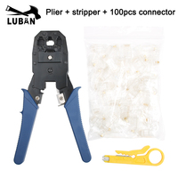Flat Network Ethernet Cable Tester RJ45 Kit Crimping Tool Network Computer Maintenance Repair Tool Kit Cable Tester Cross|Pliers| |  -