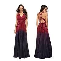 Sexy Sleeveless V neck Gradient Color Multiway Women Long Dress Elegant Party Bridesmaids Infinity Maxi Dress Robe Vestidos