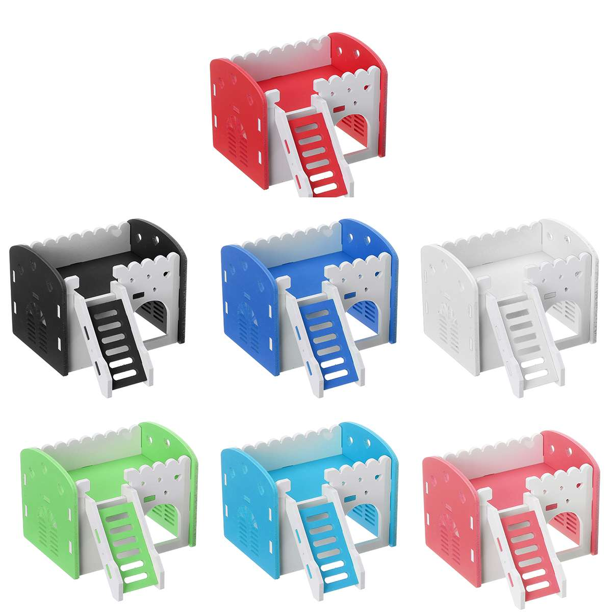 7 Colors Wooden Hamster House Double Layer Ladder Loft Small Animal Pet Mice Cage Castle Hamster Climb Toys House Pet Supplies