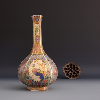 Jingdezhen antique handicrafts Qing Dynasty  yongzheng enamel vase annual  vase antique collection ornaments