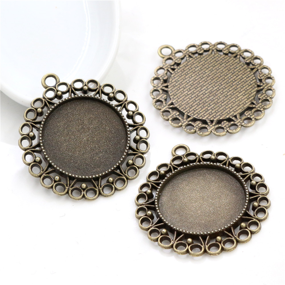 New Fashion  3pcs 25mm Inner Size Antique Bronze Fashion Style Cabochon Base Setting Charms Pendant (A3-51)