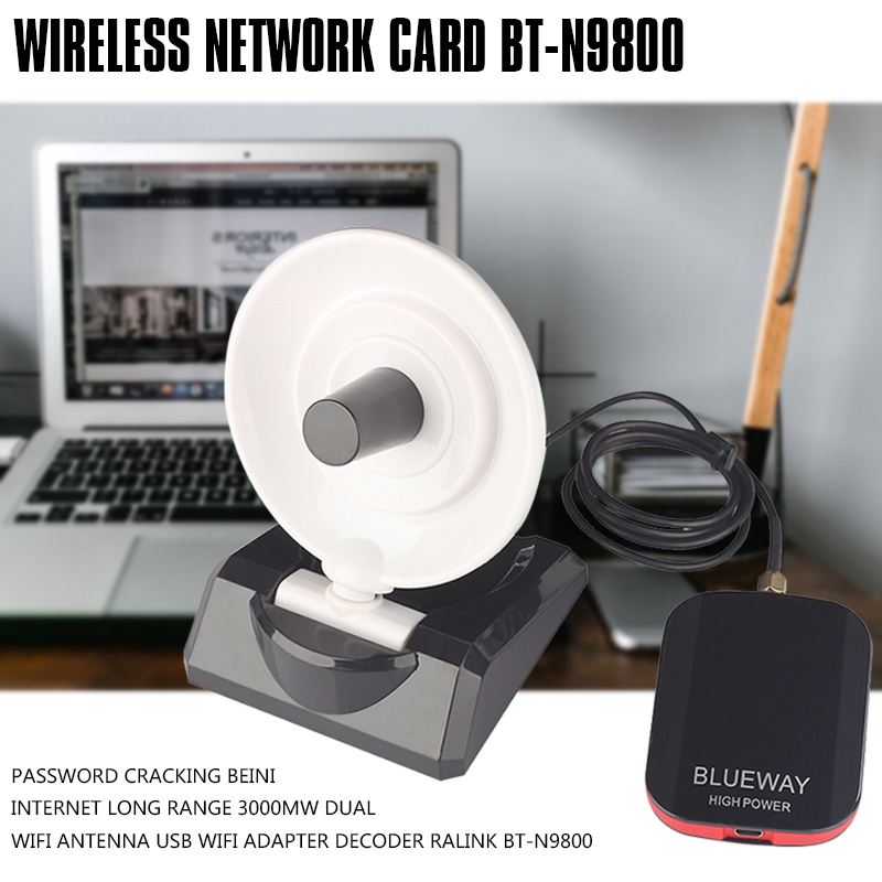 Hot 3C-Password Cracking Beini Internet Long Range 3000mW Dual Wifi Antenna USB Wifi Adapter Decoder Ralink BT-N9800