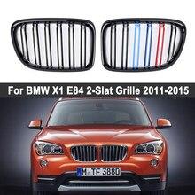 Um par duplo slat rim grille esporte frente capa grill para bmw x1 e84 2011-2015 gloss preto/fosco preto/m cor acessórios do carro