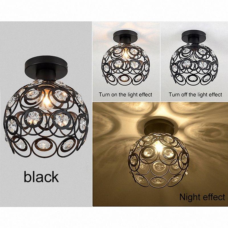 ELEG-E27 black Creative crystal minimalist ceiling light Single wall ceiling lamp bedroom lamp Single European iron lamp Crystal