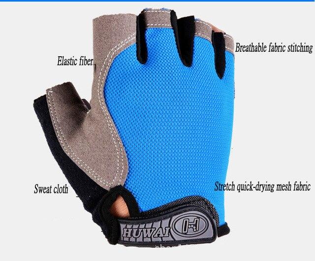 Luvas de ciclismo luvas de bicicleta anti derrapante choque respirável metade do dedo curto luvas esportivas acessórios para homens 2