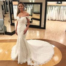 Женское свадебное платье с юбкой годе кружевное до пола открытой